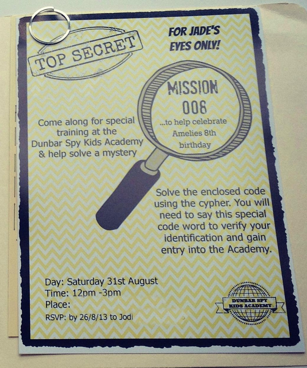 Secret Agent Party Invitations