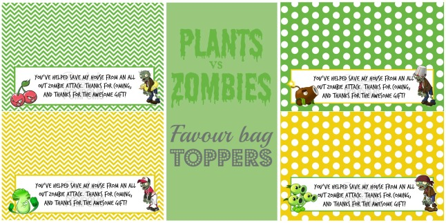Plants vs. Zombies Bag Toppers by Pinwheels and Pompoms