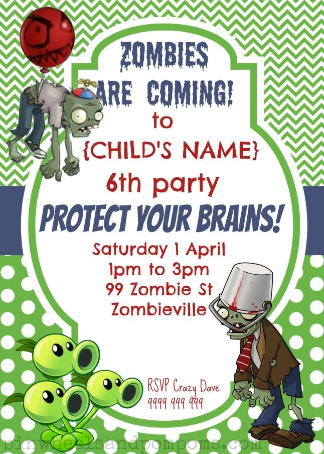 Party Invitation {Plants vs Zombies}